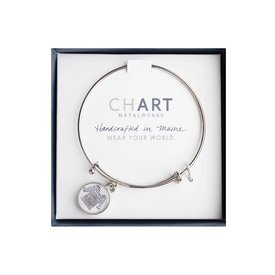 Chart Metalworks Expandable Bangle - Sara Fitz Striped Shirt - Pewter