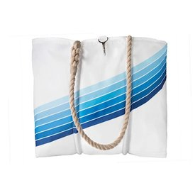 Sea Bags Custom Daytrip Society Retro Stripe Tote - Blue Gradient - Medium