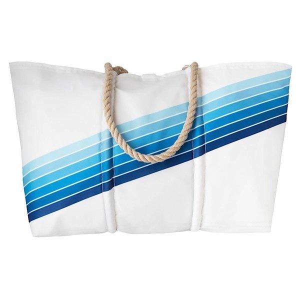 Sea Bags Custom Daytrip Society Retro Stripe Tote - Blue Gradient - Large