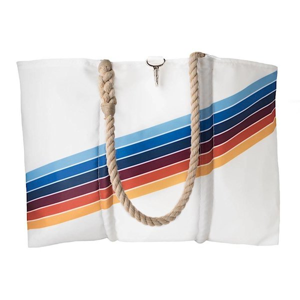 Sea Bags Custom Daytrip Society Retro Stripe Tote - Rainbow - Large