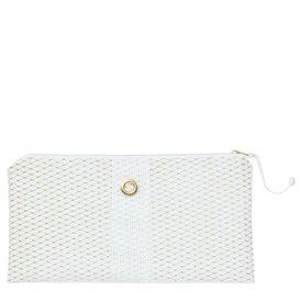 Alaina Marie Bait Bag Clutch - Gold & White