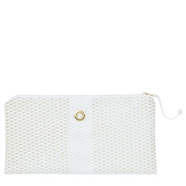 Alaina Marie Bait Bag Clutch - Mini Gold on White