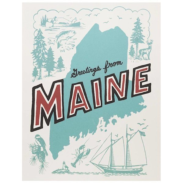 Daytrip Society Retro Maine Poster - 11 X 14 Inches