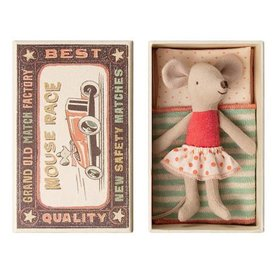 Maileg Mouse - Little Sister In Box - Orange Polka Dot