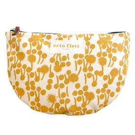 Erin Flett Heavy Canvas Half Large Moon Bag - Gold - Berries - Navy Zip