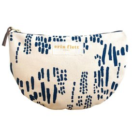 Erin Flett Heavy Canvas Half Large Moon Bag - Navy - Rain - White Zip