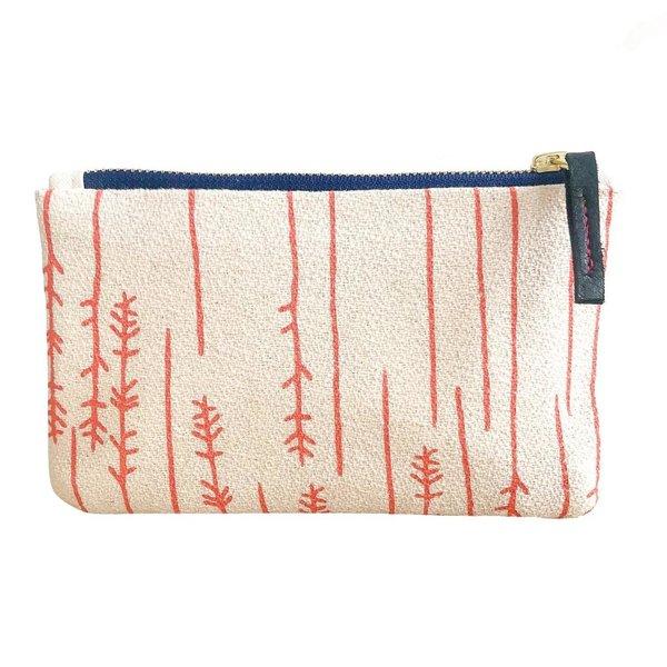 Erin Flett Bark Cloth Card Wallet Pouch - Coral - Twigs - Navy Zip