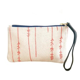 Erin Flett Bark Cloth Wristlet Zipper Pouch - Coral - Twigs - Navy Zip