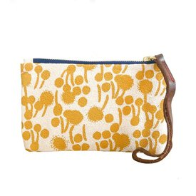 Erin Flett Bark Cloth Wristlet Zipper Pouch - Gold - Berries - Navy Zip