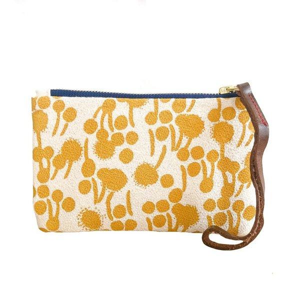 Erin Flett Bark Cloth Wristlet Zipper Pouch - Gold - Berries - Navy Zip