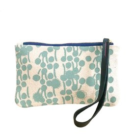 Erin Flett Bark Cloth Wristlet Zipper Pouch - Robins Egg Blue Berries - Navy Zip