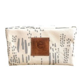 Erin Flett Heavy Canvas Dopp Kit - Rainy Day Rain - White Zip
