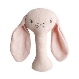 Alimrose Bobby Bunny Stick Rattle - Pink Linen
