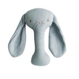 Alimrose Bobby Bunny Stick Rattle - Grey Linen