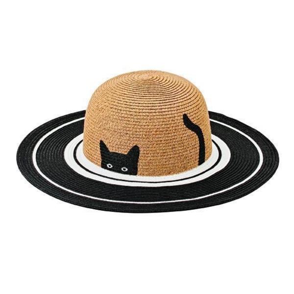 Kids Sun Hat - Black/White Cat