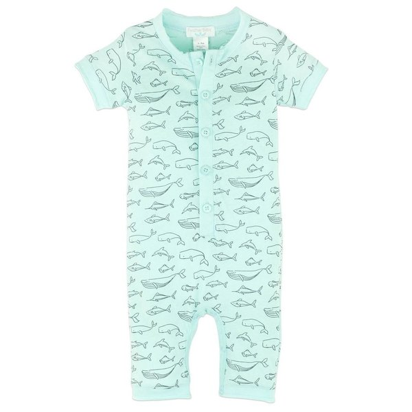 Feather Baby Feather Baby Henley Romper - Big Fish Black on Aqua - 9-12M