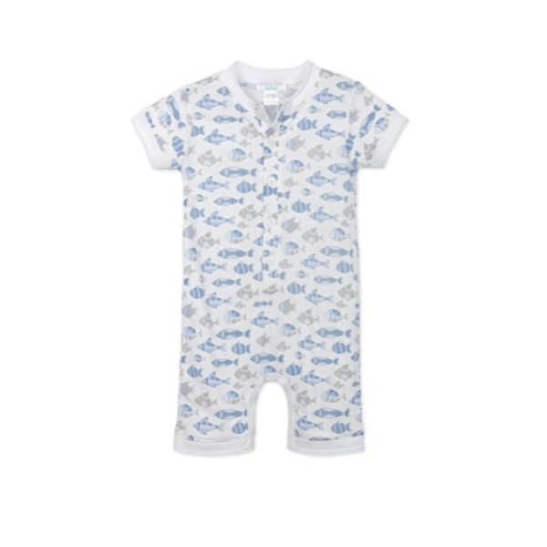 Feather Baby Feather Baby Henley Romper - Fish Blue on White - 0-3