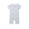 Feather Baby Henley Romper - Fish Blue on White - 6-9