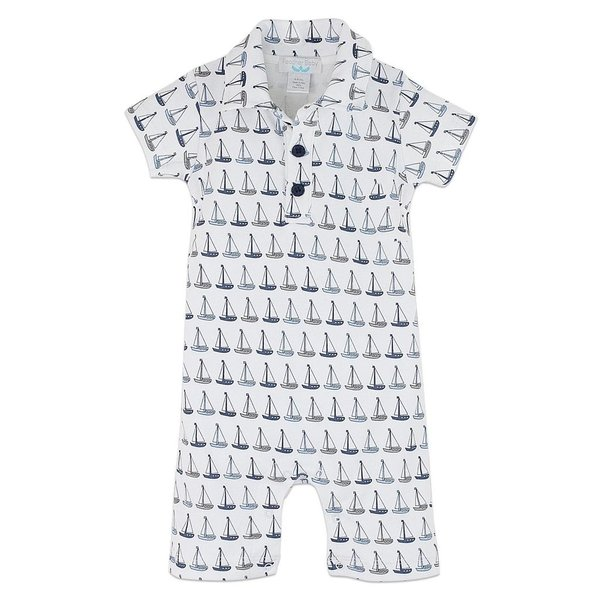 Feather Baby Feather Baby Organic Collared Romper - Sailboats - 6-9M