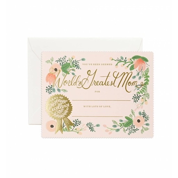 Rifle Paper Co. Card - Greatest Mom Certificate