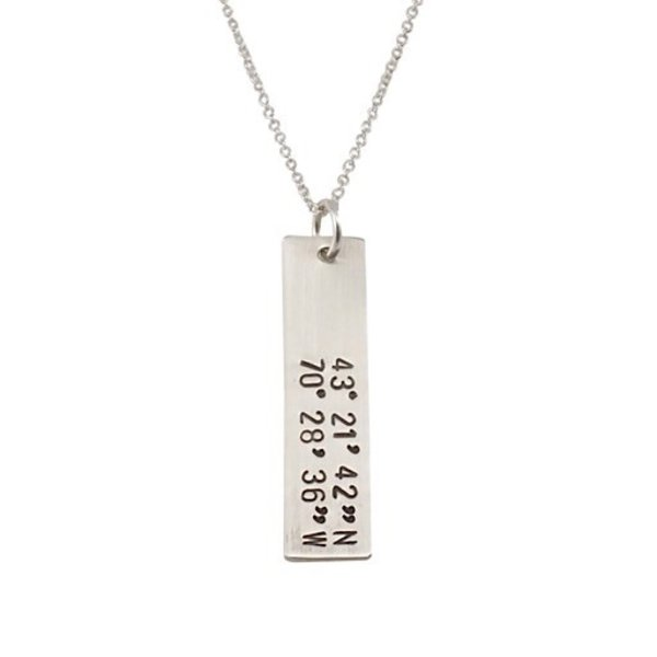 Becoming Jewelry Custom Coordinates Bar Necklace - Kennebunkport - Silver