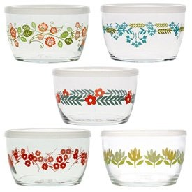 Vintage Flower Storage Bowls - Set of 5