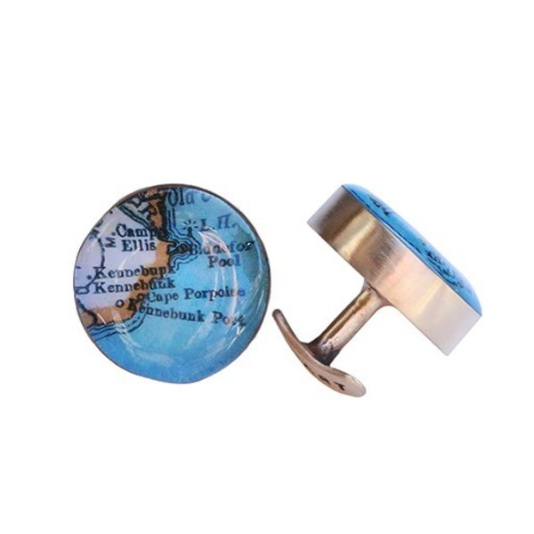 Chart Metalworks Cuff Links - Vintage Maine Map - Bronze