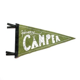 Strawberry Moth Wool Pennant Flag - Happy Camper