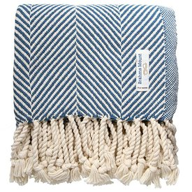 Brahms Mount Monhegan Throw 100% Cotton - Natural & Indigo