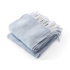 Brahms Mount Monhegan Throw 100% Cotton - Misty Blue on White