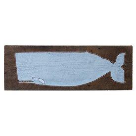 Mermaid Meadow Barnboard Whale - Grey Blue