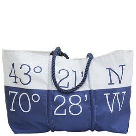 Sea Bags Custom Daytrip Society Coordinates Tote - Navy Handle - Large
