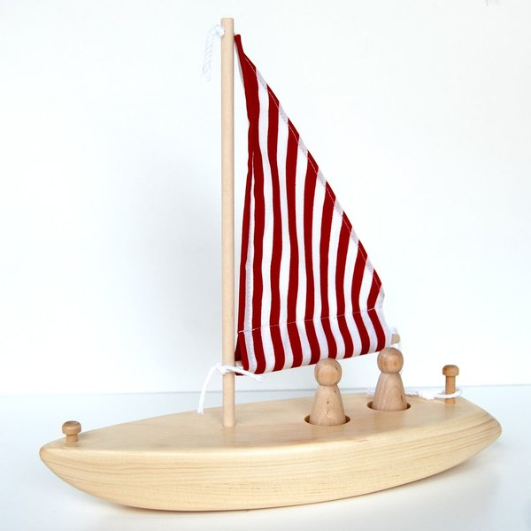 Wooden Sailboat - Red & White Stripe Sail