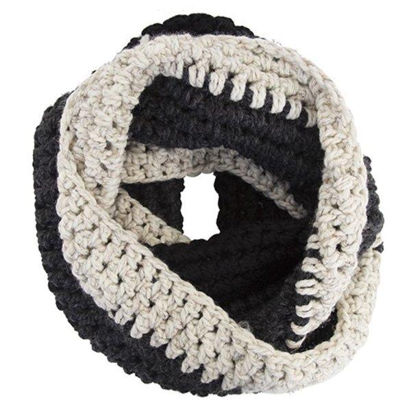 KraeO Abington Warmer Infinity Scarf - Black/Charcoal/Wheat