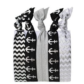Hair Ties Set of 5 - Black and Silver Sailor