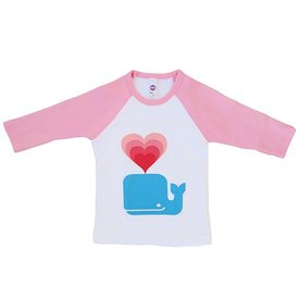 Whale Love Kids Baseball T-shirt - 3/4 inch Sleeves