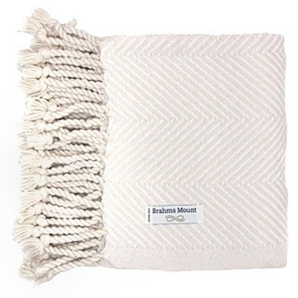Brahms Mount Monhegan Throw 100% Cotton - Natural & White