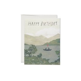 Red Cap Cards Canoe Birthday Card