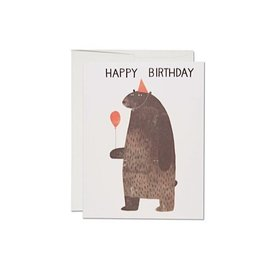Red Cap Cards Party Bear Birthday Card