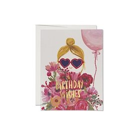 Red Cap Cards Heart Shaped Glasses Foil Birthday Card