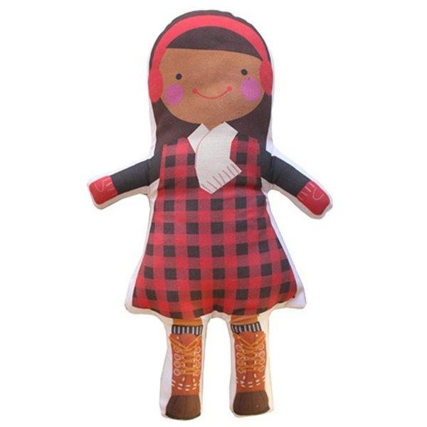 Sophie & Lili Kennebunkport Custom Doll Earmuff Brunette with Dark Skin Girl - Lumberjack Dress