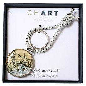 Chart Metalworks Key Ring - Goose Rocks Beach - Pewter