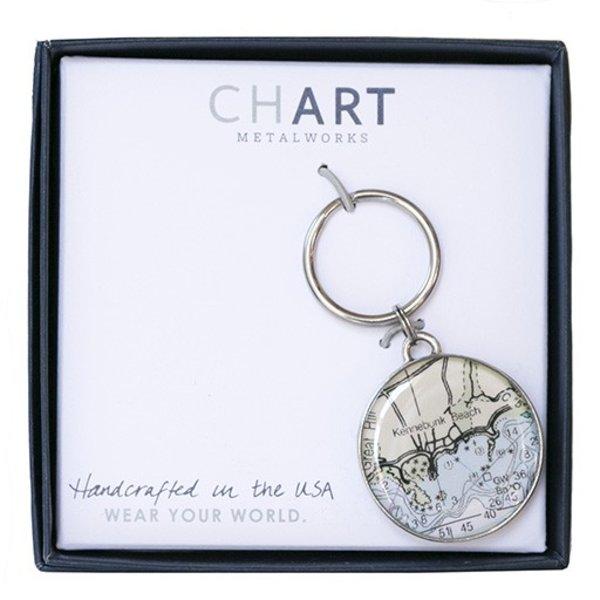 Chart Metalworks Key Ring - Kennebunk Beach - Pewter