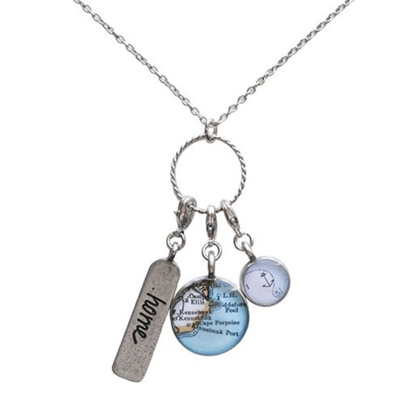 Chart Metalworks Triplo Charm Necklace - Vintage Maine Map -Pewter