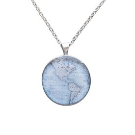Chart Metalworks Necklace - Vintage World Map - Medio - Pewter