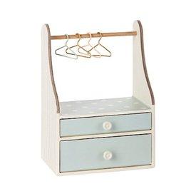 Maileg Micro Wardrobe Dresser with Four Hangers - mint