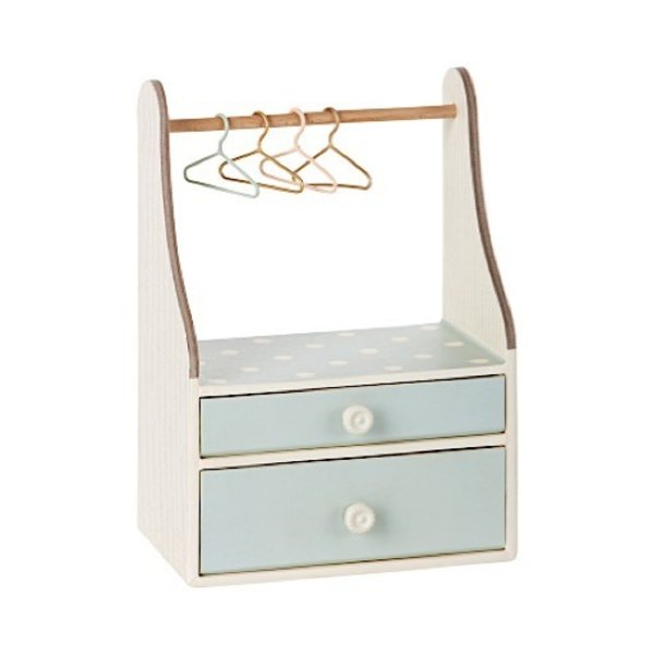 Maileg Micro Wardrobe Dresser with Four Hangers - mint
