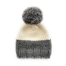 Betty Louise Studio Chunky Color Block Hat - Dark Grey Bottom, Ivory Top - Grey Yarn Pom Pom