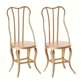 Maileg Vintage Micro Chair - Gold - 2 pcs