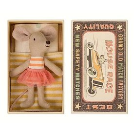 Maileg Mouse - Little Sister in Box - Orange Stripe